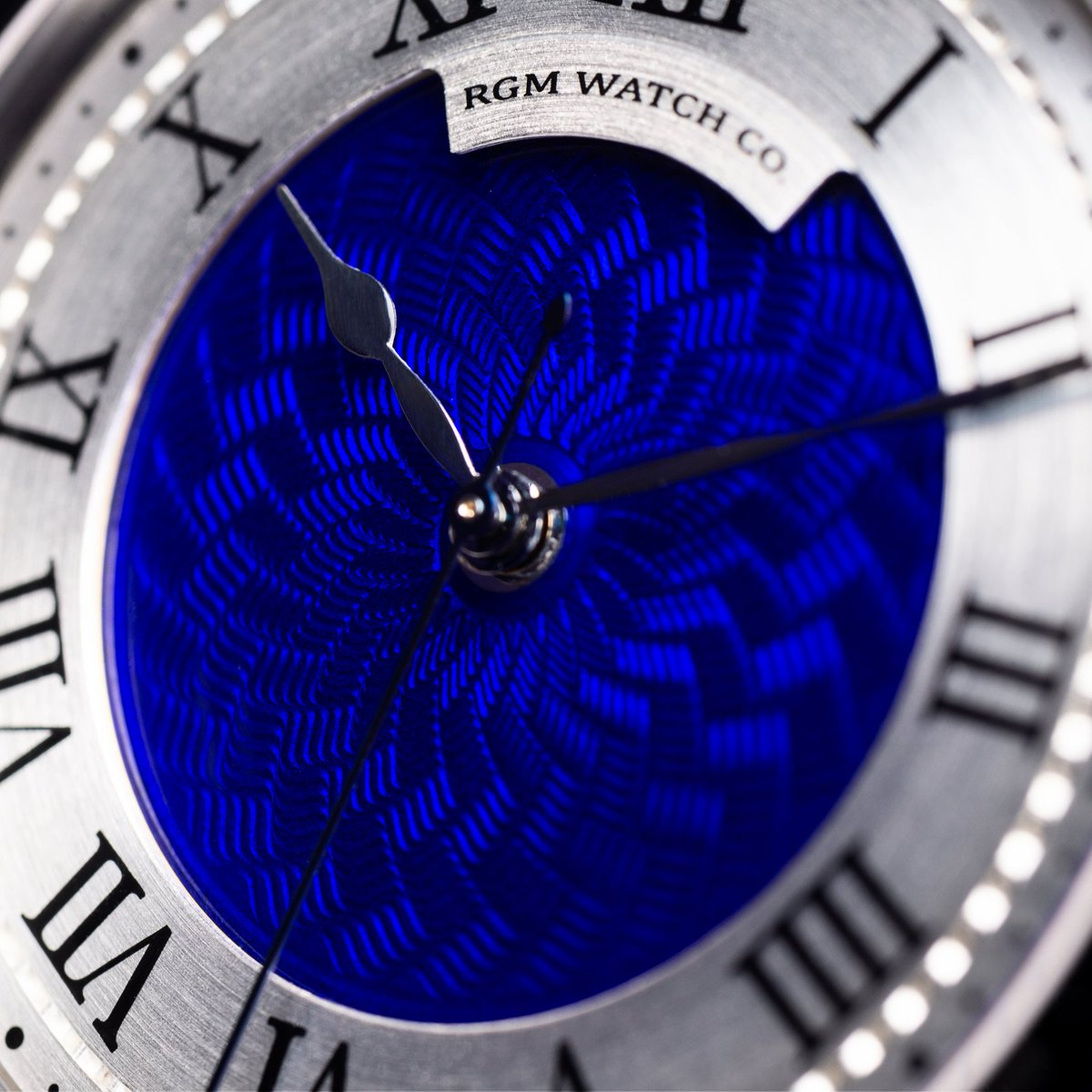 A closeup of the Flinqué enamelling over our hand cut Engine-Turned dial. #rgm #rgmwatches #rgmwatch #watch #watches #wristwatch #wristwatches #watchmaking #watchmaker #guilloche #engineturning #flinque #enamel #enameldial #independentwatchmaking #independentwatchmaker
