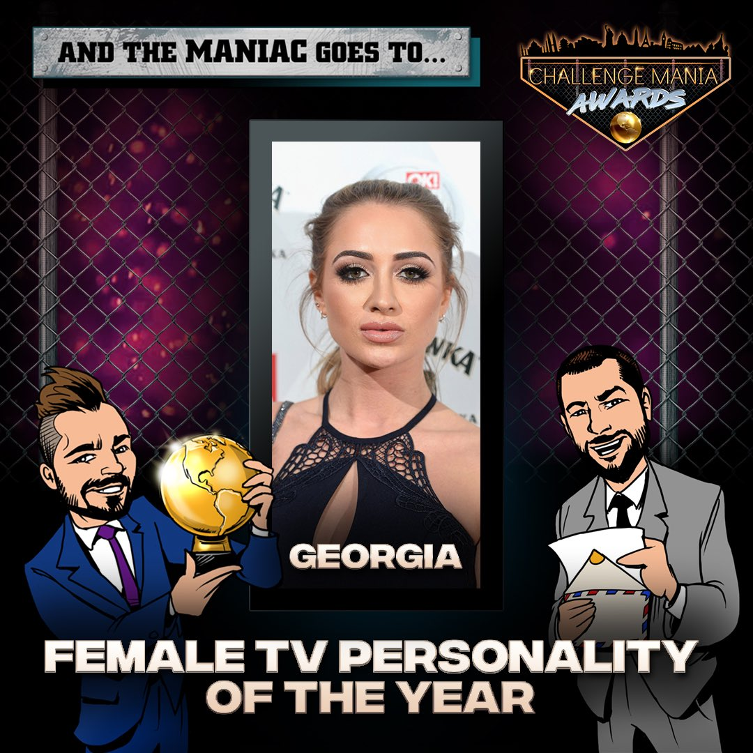 🎊And the #ChallengeMania Award for FEMALE TV PERSONALITY OF THE YEAR goes to...  GEORGIA!! (@georgiaharisonx)  🌕🌕🌕🌕🌕🌕🌕🌕🌕  #TheChallenge33 #TheChallenge34  #ChallengeManiaAwards