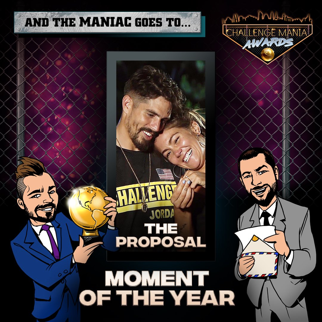 "🎊And the #ChallengeMania Award for MOMENT OF THE YEAR goes to...  ""THE PROPOSAL"" - TORI (@tori_deal) & JORDAN (@jordan_wiseley)  🌕🌕🌕🌕🌕🌕🌕🌕🌕  *Shouts to @JohnRyanVisuals for the awesome Graphics!  #TheChallenge33 #TheChallenge34"