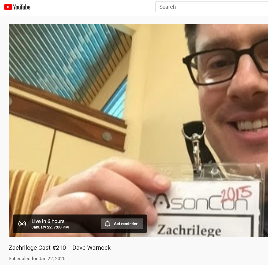 Tune in tonight at 8pm EST for a LIVE interview with Dave on Zachrilege Cast! buff.ly/36Oqo7r