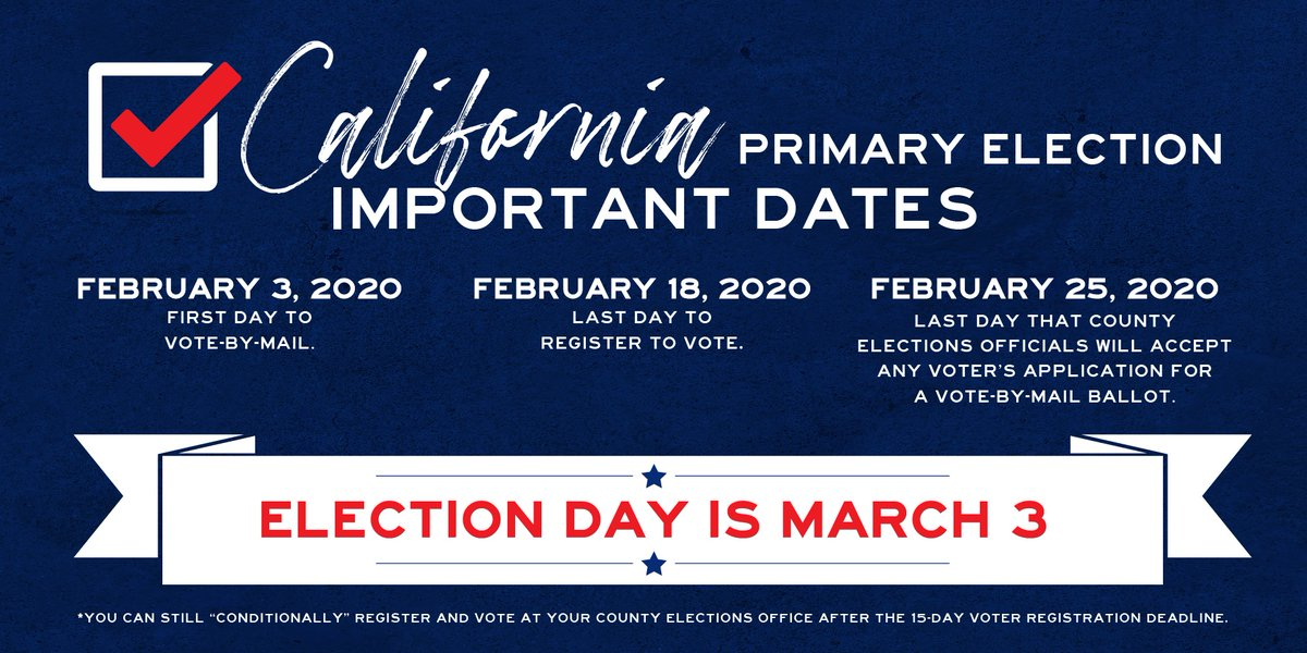 We are only 41 days out! Here are some important dates to note for the upcoming March 3rd Election. Get registered (registertovote.ca.gov) or check your voter status (voterstatus.sos.ca.gov) #BeAVoter #CAPrimary 🇺🇸