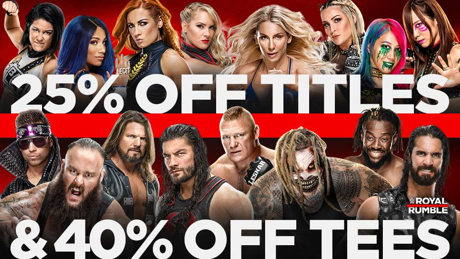 Gear up for #RoyalRumblewith 25% Off Titles & 40% Off Tees sale at #WWEShop! #WWE