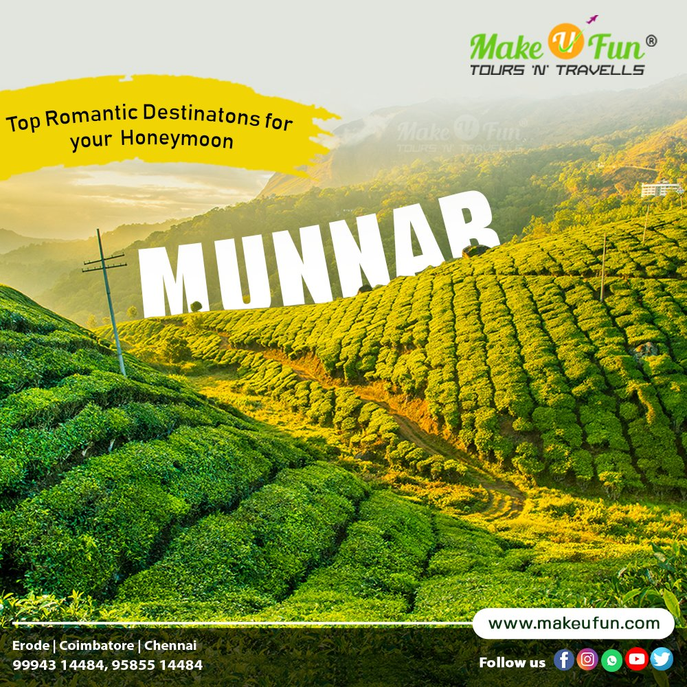 Escape the city to a peaceful retreat with your loved ones! Munnar is the best romantic destination for you. Book now Make U Fun.......  Make U Fun Tours 'N' Travells +91 99943 14484 +91 95855 14484  #makeufun #Tourism #Tour #Travel #Fun #Munnar