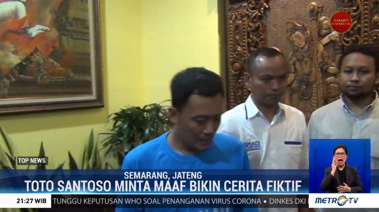 #TopNewsMetroTV Totok Santoso, Raja Keraton Agung Sejagat mengaku bersalah dan meminta maaf kepada masyarakat Indonesia. Totok tegaskan bahwa cerita Keraton Agung Sejagat yang ia sampaikan adalah fiktif. Permintaan maaf disampaikan di Polda Jateng.@Metro_TV