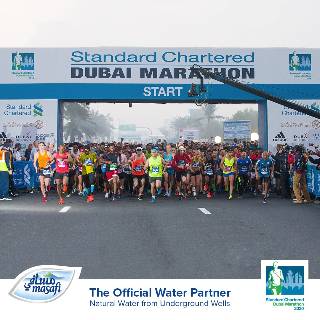 2 DAYS left for the Standard Chartered Dubai Marathon 2020 on the 24th of Jan.  Get ready to cheer and hydrate with Masafi!  #Masafi  باقي يومان على ماراثون دبي العالمي الذي سيقام يوم 24 يناير.  استعد للمنافسة والانتعاش!  #مسافي https://t.co/GO6DLqCFvG