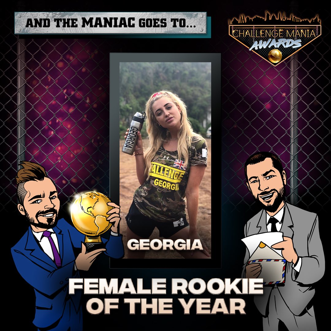 🎊And the #ChallengeMania Award for FEMALE ROOKIE OF THE YEAR goes to...  GEORGIA!!! (@georgiaharisonx)  🌕🌕🌕🌕🌕🌕🌕🌕🌕  *Shouts to @JohnRyanVisuals for the awesome Graphics!  #TheChallenge33 #TheChallenge34  #ChallengeManiaAwards