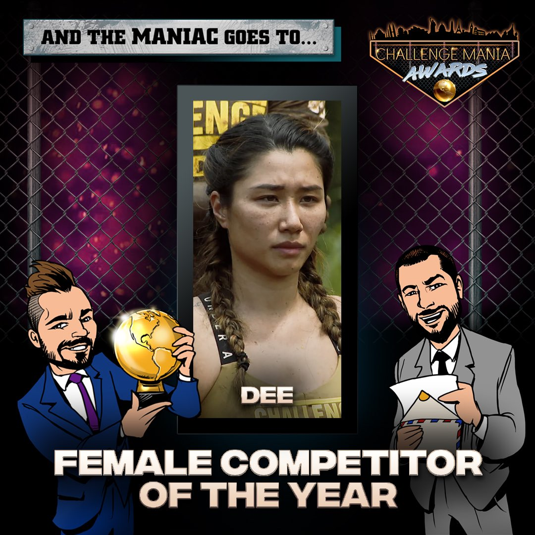 🎊And the #ChallengeMania Award for FEMALE COMPETITOR OF THE YEAR goes to...  DEE! (@MsDeeDguyen)  🌕🌕🌕🌕🌕🌕🌕🌕🌕  *Shouts to @JohnRyanVisuals for the awesome Graphics!  #TheChallenge33 #TheChallenge34  #ChallengeManiaAwards