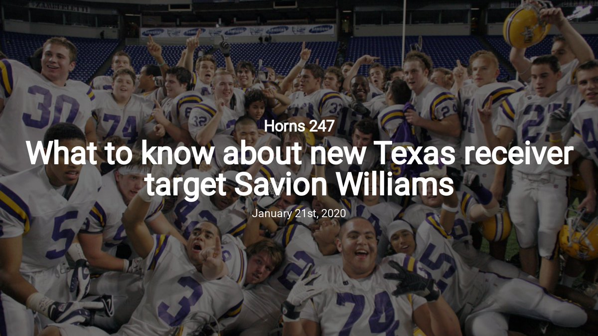 What to know about new Texas receiver target Savion Williams — Horns 247 #Hookem #Longhorns  http:// dsh.news/ojUc0aMvffkPBo heXeZT  … <br>http://pic.twitter.com/3uIW6B7PEF