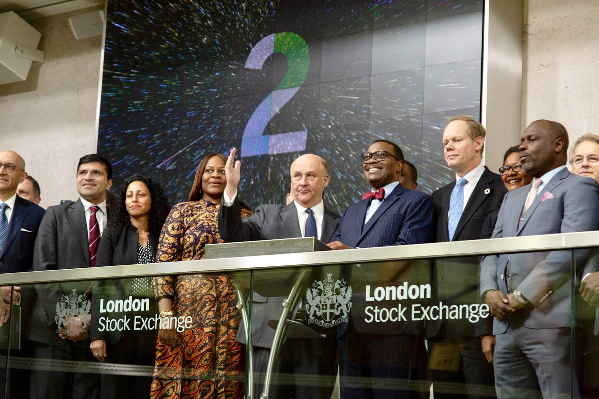 Wow! I rang the market opening bell at the London Stock Exchange today! Many thanks to Don Robert, Chairman of the London Stock Exchange and his Group. We will do great things together for Africa. @LSEGplc<br>http://pic.twitter.com/Ukxq8F8Vgx