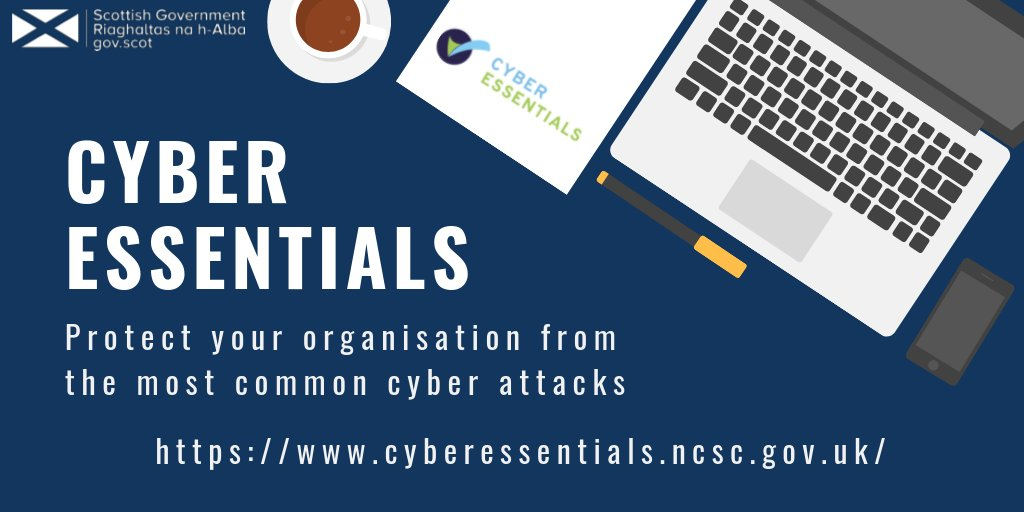 In the run up to #CyberScotWeek2020 we are sharing some top cyber resilience tips with you. Protect your organisation from the most common cyber attacks. Get Cyber Essentials. https://www.cyberessentials.ncsc.gov.uk/ #CyberScotWeek2020 @NCSCpic.twitter.com/lOHdN42ENm