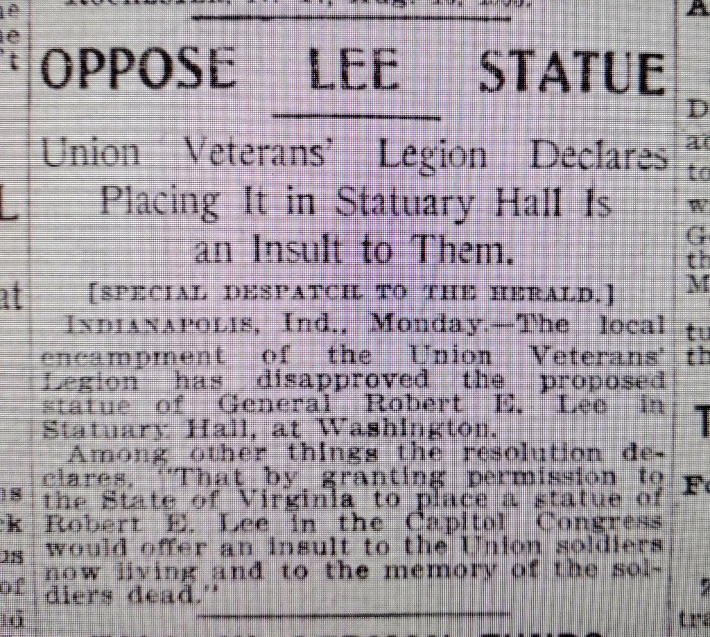 In case you wondered what the veterans of the US Army of the Civil War thought about Confederate monuments in 1903. (NY Herald, Aug 18, 1903) <br>http://pic.twitter.com/hQlJoR5L7j