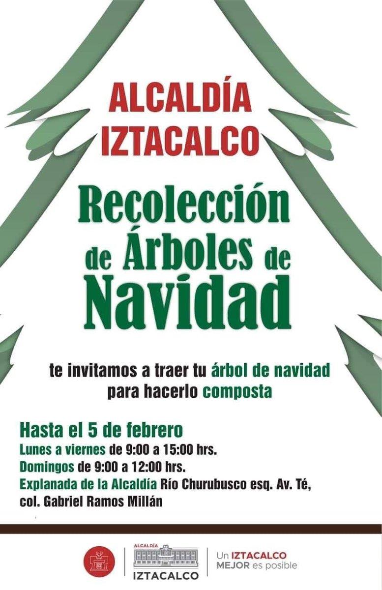 """No tires  tu arbolito de Navidad en la vía pública La Alcaldía de #Iztacalco te invita a traer tu #ÁrbolDeNavidad para que mediante el Programa """"Árbol por Árbol, tu Ciudad Reverdece""""  sea reciclado y se utilice como composta para parques y jardines de la  Ciudad de México. pic.twitter.com/a1lwqAk0Si"""