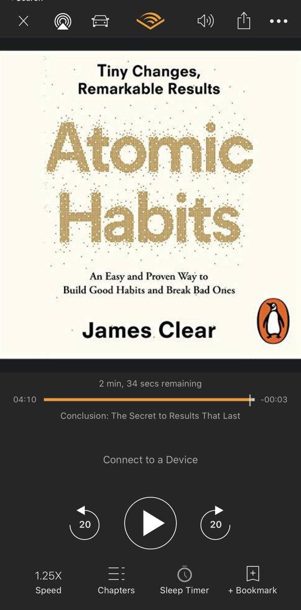 @JamesClear Just wrapped up Atomic Habits on @audible_com. Great stuff! Incisive; cuts through the typical #productivity BS, and drives home the essentials... straight to the heart (1% at a time :)..)  #AtomicHabitspic.twitter.com/kFBsE2j4Mb