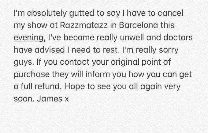 James Arthur cancels Barcelona concert