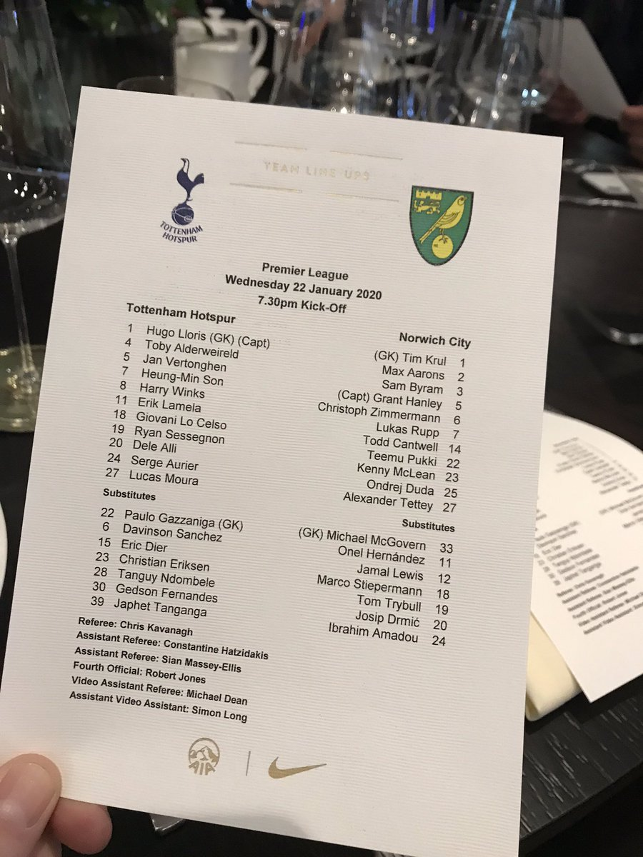 I'm in the very posh bit tonight @SpursOfficial ! Lloris straight into the side... No Tangana 😕