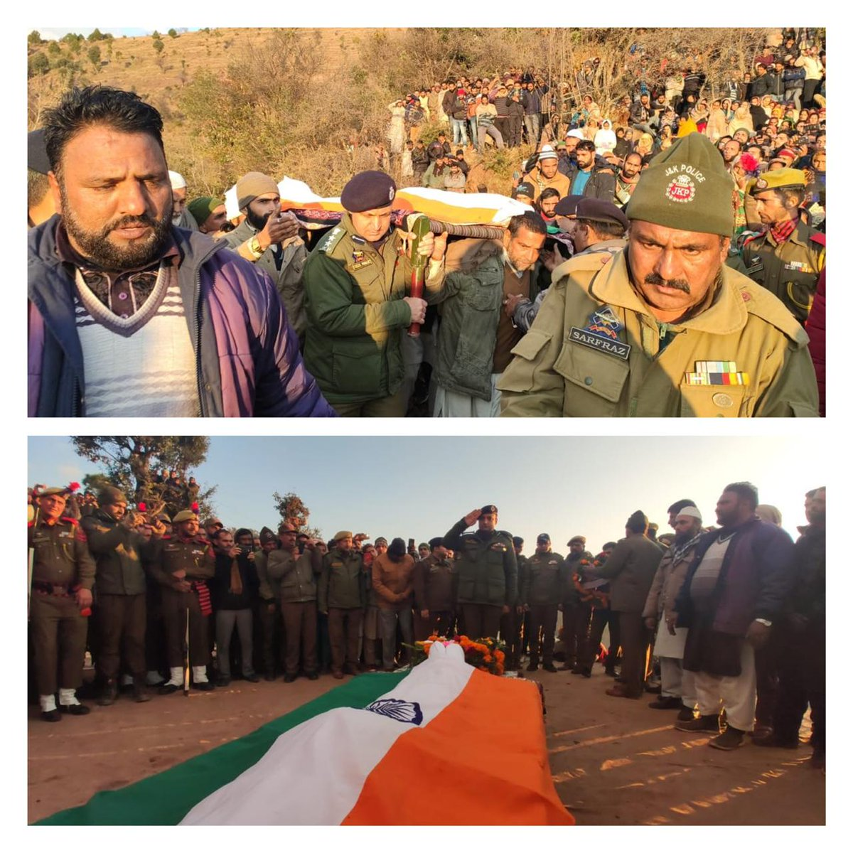 #Tributes paid to #Martyr cop in Hayatpura Manjakote #RajouriJ&K Police & Civil administration & other security forces today paid rich professional #tributes to the #Martyr SPO who laid down his life while fighting terorists in Awantipora area of Kashmir on Tuesday.