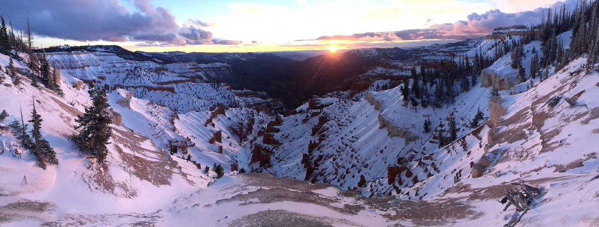 Stand on the rim of Cedar Breaks National Monument and overlook the amphitheater of snow-covered rock formations. They tell a story of ancient mountains and seas #Utah<br>http://pic.twitter.com/mOsgucVKEK