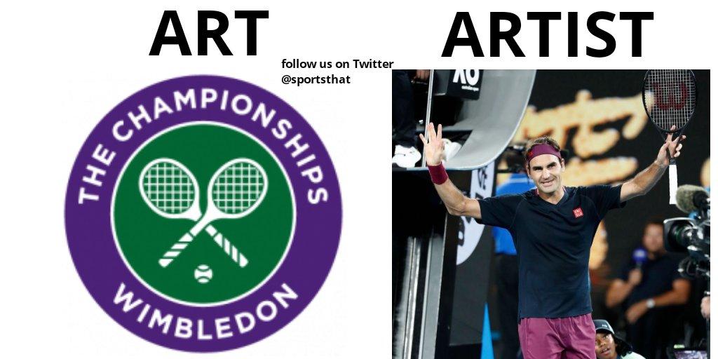 Art= Wimbledon  Artist= Roger Federer   Record 7 Wimbledon titles!#Wimbledon #Tennis #FedEx #Federer #RogerFederer #ArtArtist #ArtvsArtist #artandartist #MemerSangh #memesdaily #tennismemes #sportsmemes pic.twitter.com/vClPfujRn8