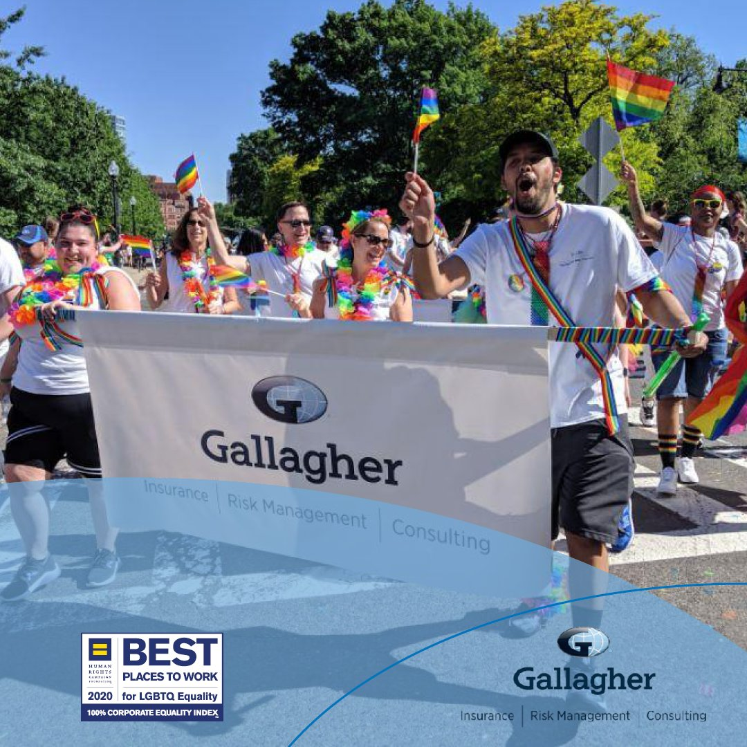 Gallagher is proud to have scored 100 on the @HRC Corporate Equality Index as a Best Place to Work for LGBTQ Equality. #lifeatgallagher