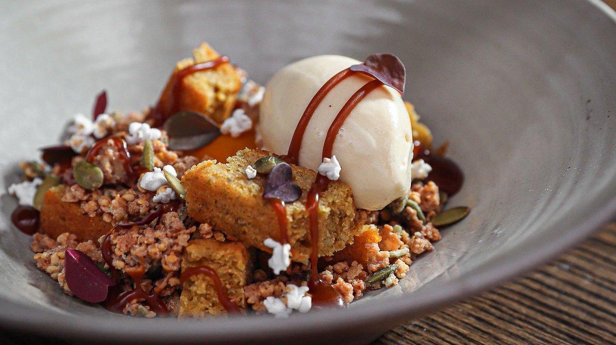 Pumpkin seed financier with white sesame ice cream, Okinawan caramel, and kabocha squash • #BokaChicago #BokaRestaurantGroup