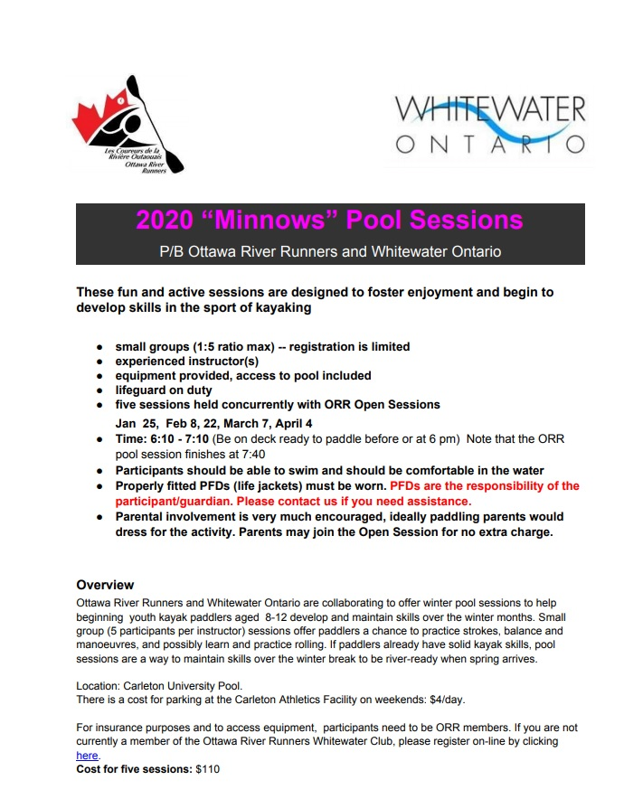 It's never too early to start thinking about paddling! @ORRwhitewater youth pool sessions! ottawariverrunners.com