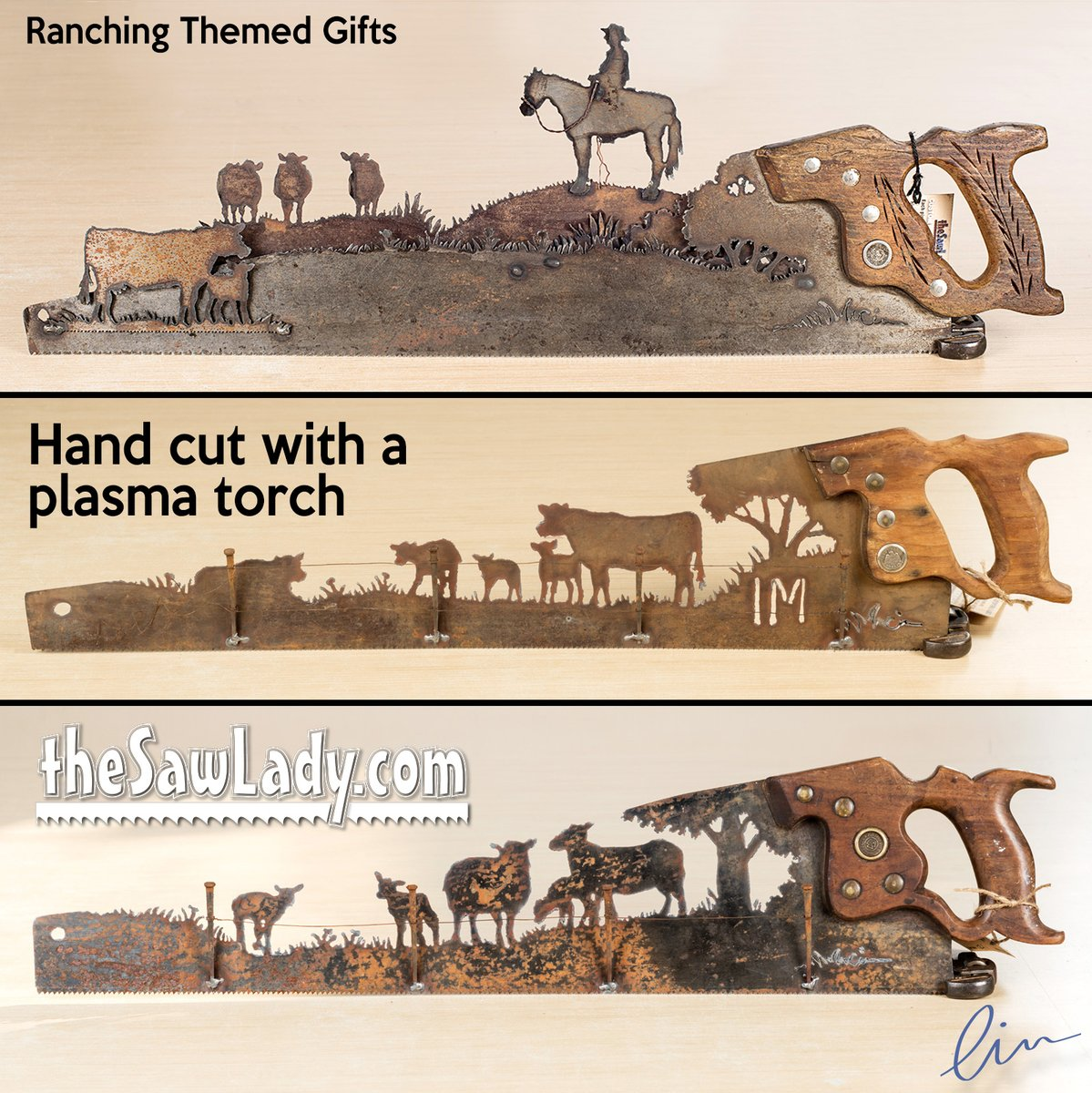 I've cut a LOT of cattle and ranch themed saws over the years. :)  You can order them with a name or a brand. . https://soo.nr/usUV . #ranching #ranch #farming #beef #sheep #farmlife #metalart #custommetalart #thesawlady #cindychinn #madeinnebraska #handmade pic.twitter.com/VAjB5M6zvn