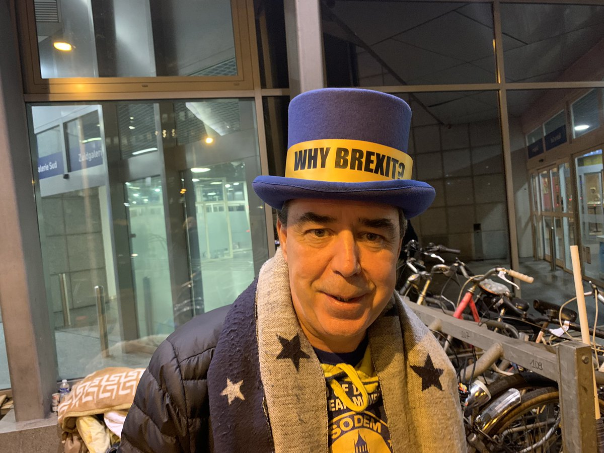 Arrive in Brussels. Exit Eurostar. And who's first person I see? Only #StopBrexitSteve en route to say goodbye to the European Parliament. 'I'm #WhyBrexitSteve now' he says & shows off new hat worn first time today.  Love Brexit or loathe it, all respect to his fighting spirit..