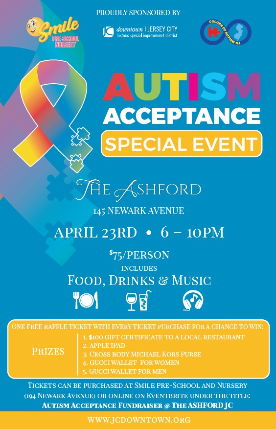 Autism Acceptance Special Event is sponsored by Colors of Autism NJ and @Smile_preschool !💙 This event takes place April 23rd, 6-10 PM, at The Ashford💙 Purchase tickets here: https://www.eventbrite.com/e/88859558331