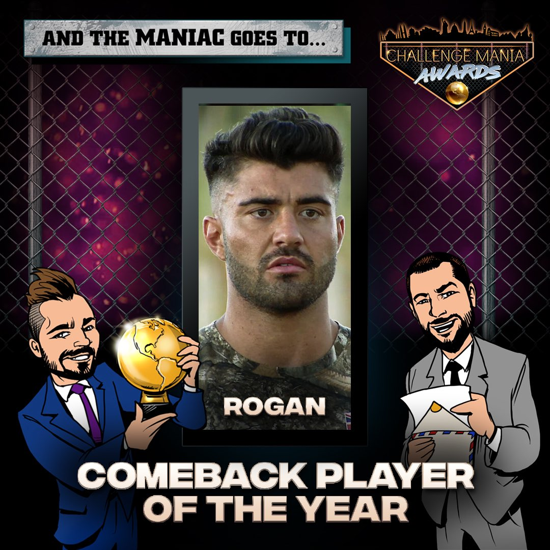 🎊And the #ChallengeMania Award for COMEBACK PLAYER OF THE YEAR goes to...  ROGAN!!! (@Rogan_OConnor)  🌕🌕🌕🌕🌕🌕🌕🌕🌕  #TheChallenge33 #TheChallenge34  #ChallengeManiaAwards