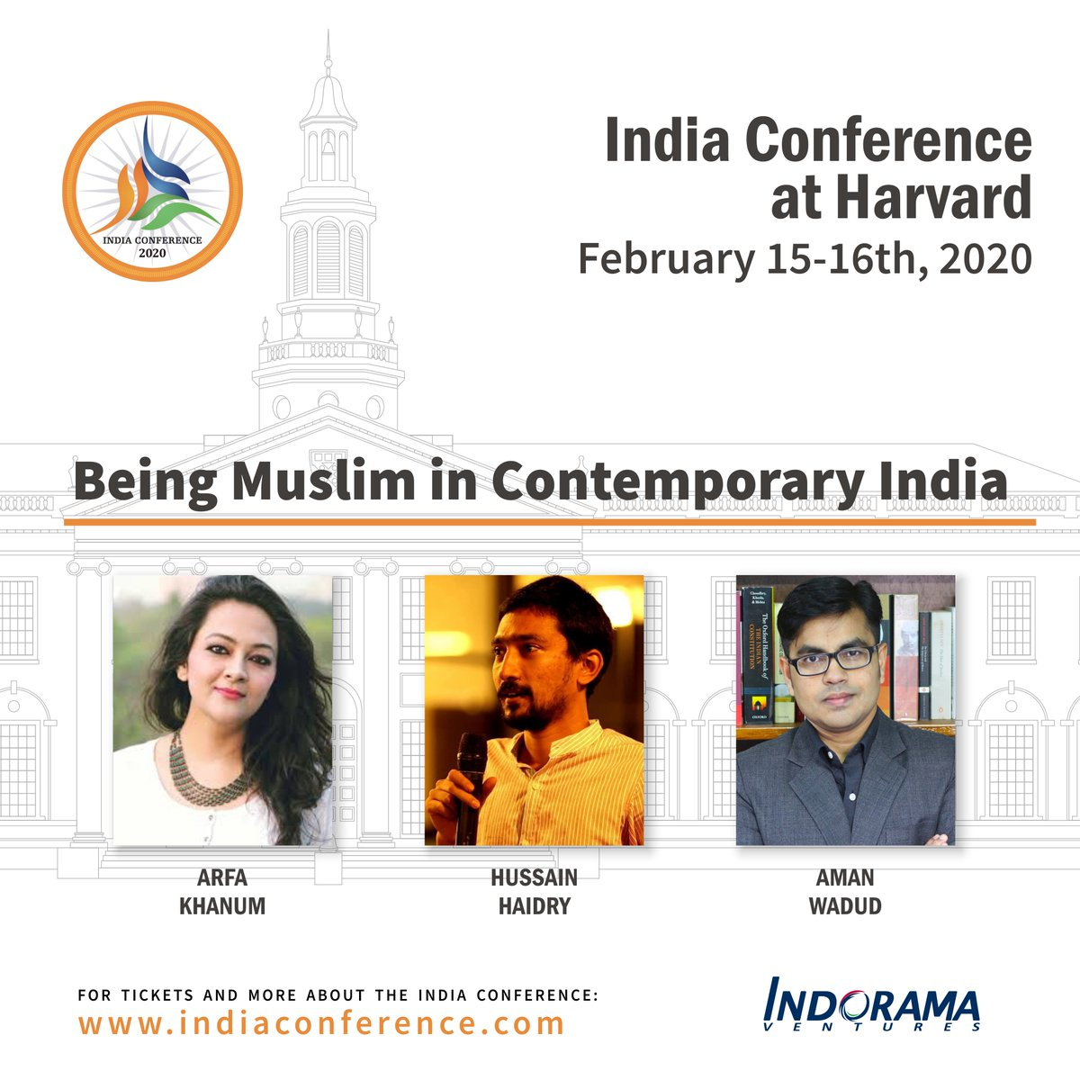 Hear @khanumarfa,  @AmanWadud & @hussainhaidry speak about experiences & outlook of Muslim communities in contemporary India at #IndiaConference2020 at Harvard.Republic Day SaleGet your tickets now: http://bit.ly/33tS7aNat 20% Off with code RDAY20. Offer lasts till 26 Jan!