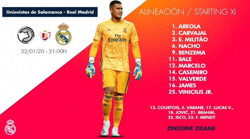 ⚠️🇨🇴 James regresa a la titularidad en el Real Madrid junto a Bale y Vinicius. La última vez del colombiano desde el arranque había sido en la derrota ante Mallorca de octubre. Oportunidad para demostrar por Copa del Rey ante el Unionistas de Salamanca.