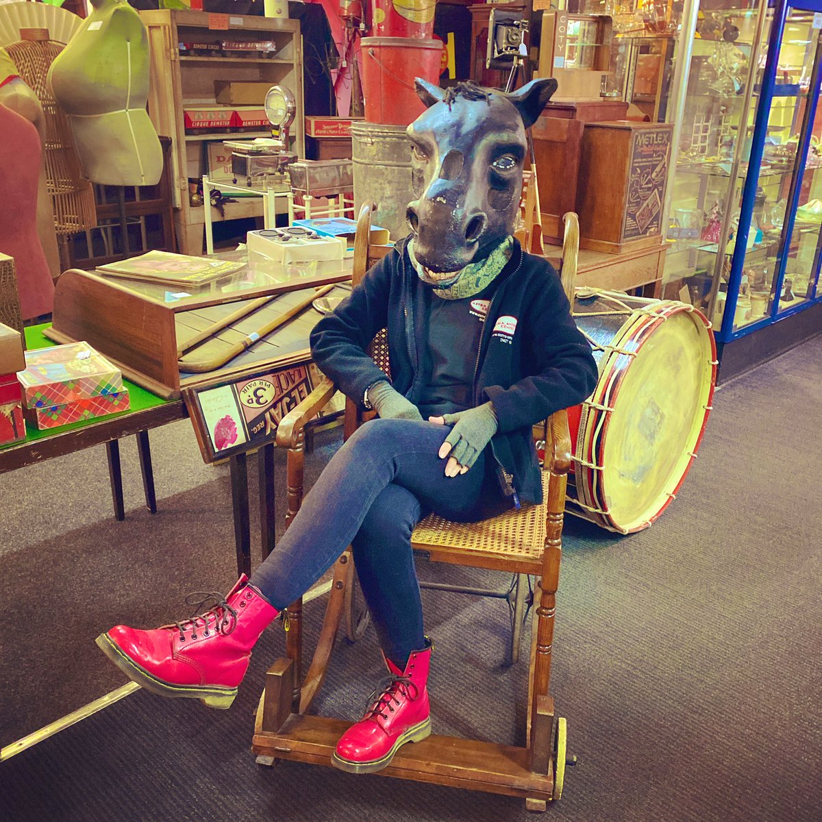 Well what can I say about this picture other than lots of new stock in and a certain staff member is feeling a little horse  #canyouguesswhoitisyet #laughedsomuch #horse #horseshead #pantomime #pantomimehead #vintagewheelchair #newstock #astraantiquescentre #hemswell <br>http://pic.twitter.com/Wcs3ZFLOyd