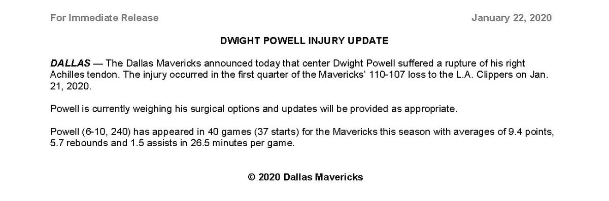 The Dallas Mavericks announced today that center Dwight Powell suffered a rupture of his right Achilles tendon.  Powell is currently weighing his surgical options and updates will be provided as appropriate.