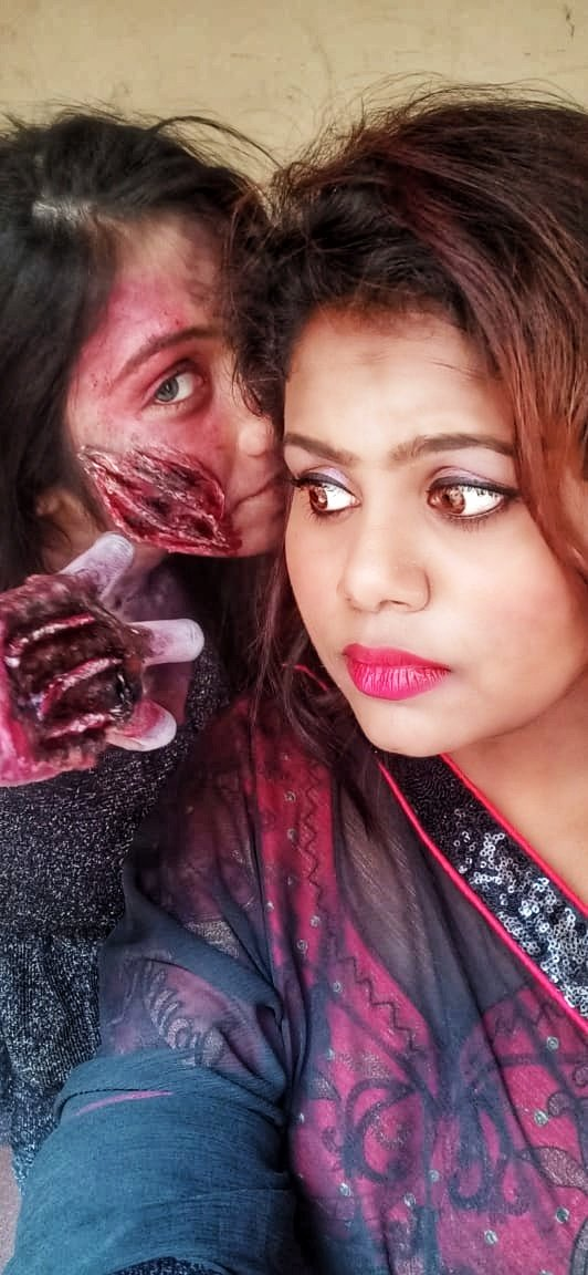 Got award for special effects makeoverToday I was very happy as my dream came out well as I expected.. #ghosted #ghostmakeup #horrormakeup #specialeffectsmakeup #fantasy #fantasymakeup #horrorart #specialeffectsmakeupartist #accidentalmakeup – at Nelson Manikam Road