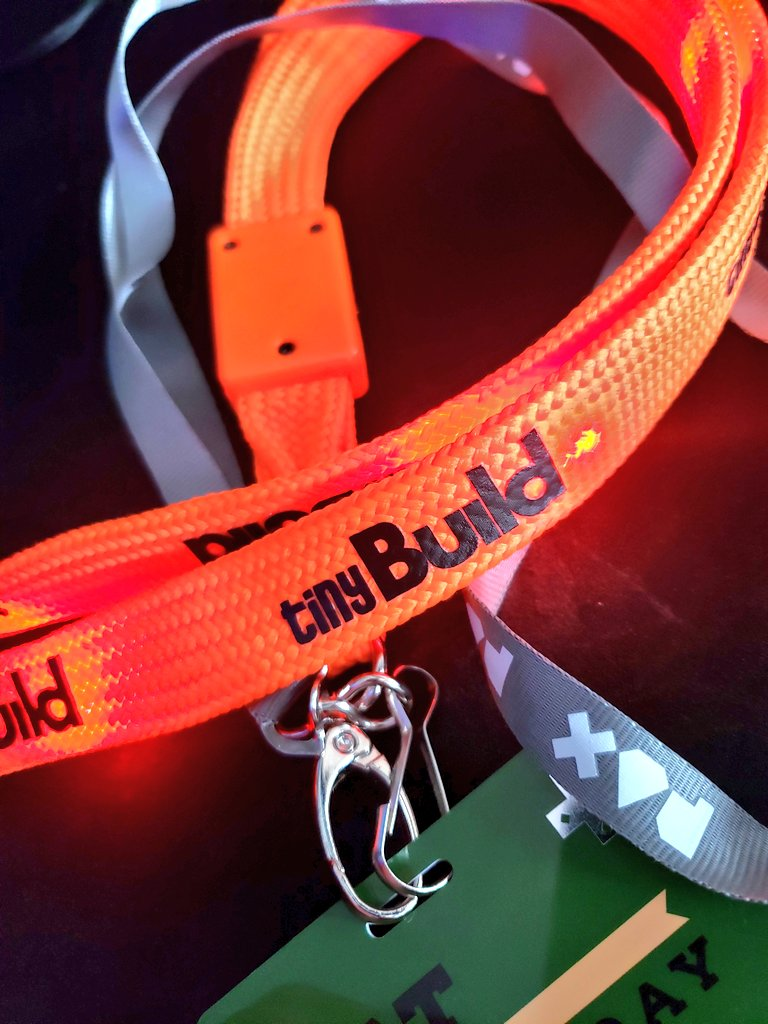 Favorite [free] swag from #PAXSouth  -- the @tinyBuild light-up lanyard<br>http://pic.twitter.com/wA8itnCdem
