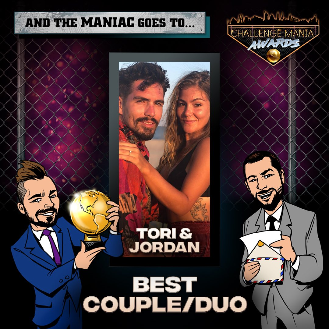 🎊And the #ChallengeMania Award for COUPLE/DUO OF THE YEAR goes to...  TORI (@tori_deal ) & JORDAN!!!! (@jordan_wiseley)  🌕🌕🌕🌕🌕🌕🌕🌕🌕  *Graphics by @JohnRyanVisuals   #TheChallenge33 #TheChallenge34  #ChallengeManiaAwards