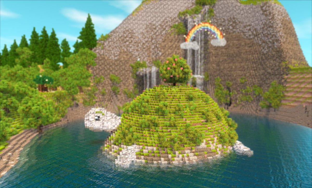 チュリニア島にカメさんの湖と、森のカフェを作ったよ🐢☕️✨シルバニアっぽい世界観の島にしていきたい🐰ブログ:#チュリニア島 #Miniaturia #Minecraft