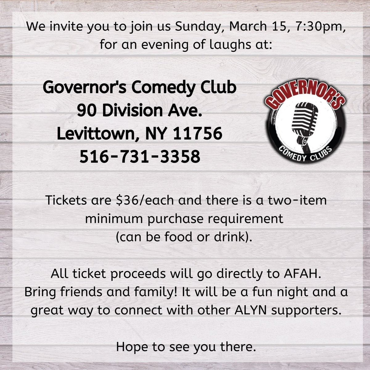 Register now for comedy night, Sunday, March 15! https://t.co/6mPMj6QfOM #comedynight #alynkids https://t.co/QvnipKBk5g