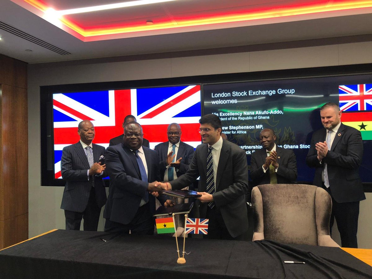 Affirming the partnership between the Ghana Stock Exchange and the London Stock Exchange <br>http://pic.twitter.com/qFf04UWeVk