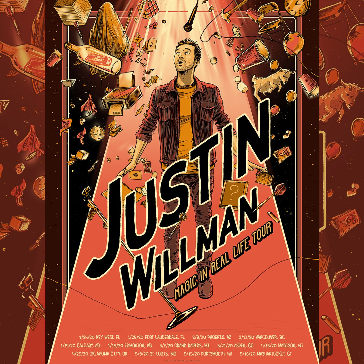 Very excited for my upcoming string of shows on the #MagicIRLtour starting up again this weekend! If you want to go to a show, all tix can be found on my website! justinwillman.com