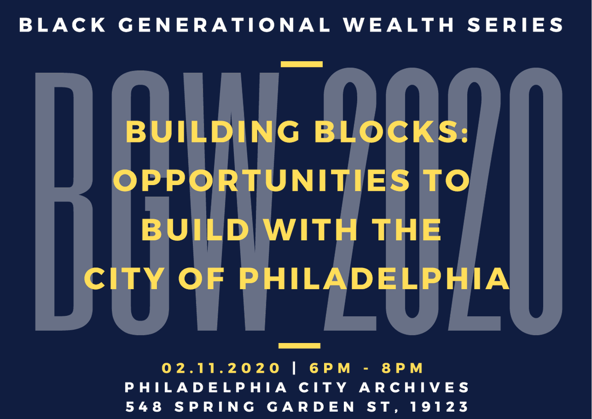 Are you looking to learn a skills-based trade? Are you a contractor who wants to grow your business? Join the Office of Black Male Engagement for Building Blocks: Opportunities to Rebuild with the City of Philadelphia on February 10. Find out more here ➡️http://bit.ly/BuildingBlocksBGW …
