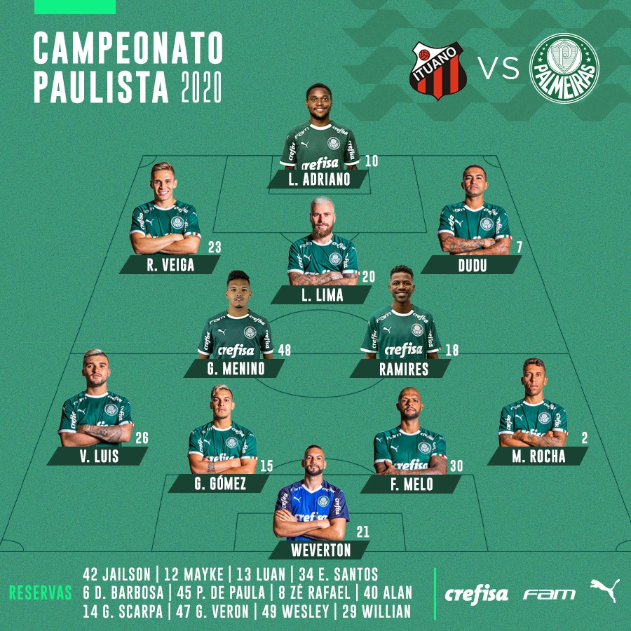 Palmeiras escalado!! @webradioverdao  @desportesbr