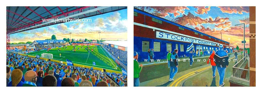 Hey @CountyPodcast loads of #edgeleypark #stockportcounty prints in stock, there £15 a3 size Inc p&p @ jkmartwork.com pls rt