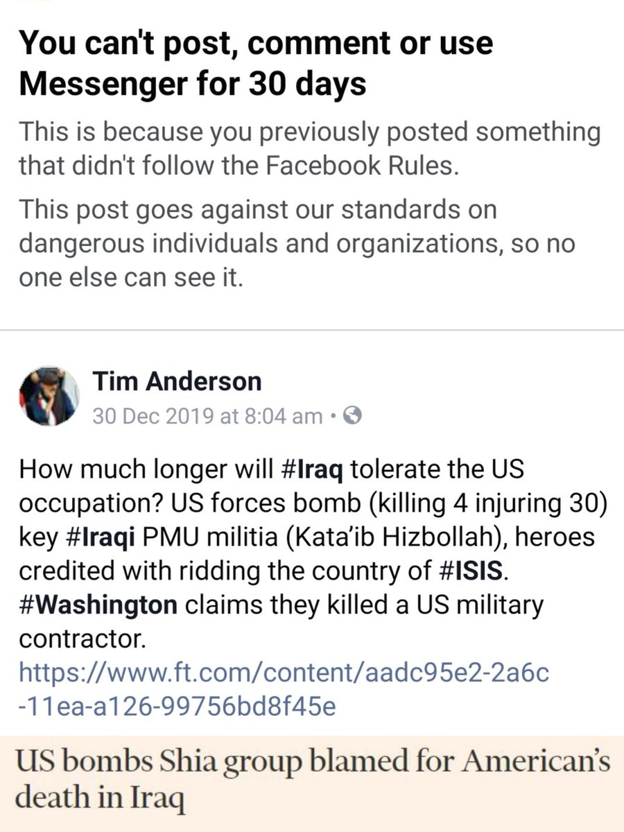 #facebook still trolling through and blocking my earlier posts, even though i am already blocked. Obsession with criticism of and resistance to Washingtons wars on #Iraq and #Iran