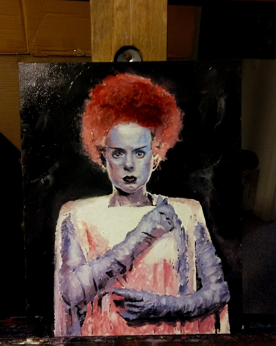 8x10 Bride of Frankenstein Oils on Canvas Panel Commissioned Piece  I am available for commissions  #brideoffrankenstein #frankenstein #halloween #horror #universalmonsters #wolfman #dracula #creaturefromtheblacklagoon #classicmonsters #halloweenmakeup #classichorrorpic.twitter.com/z1Cf850cw2