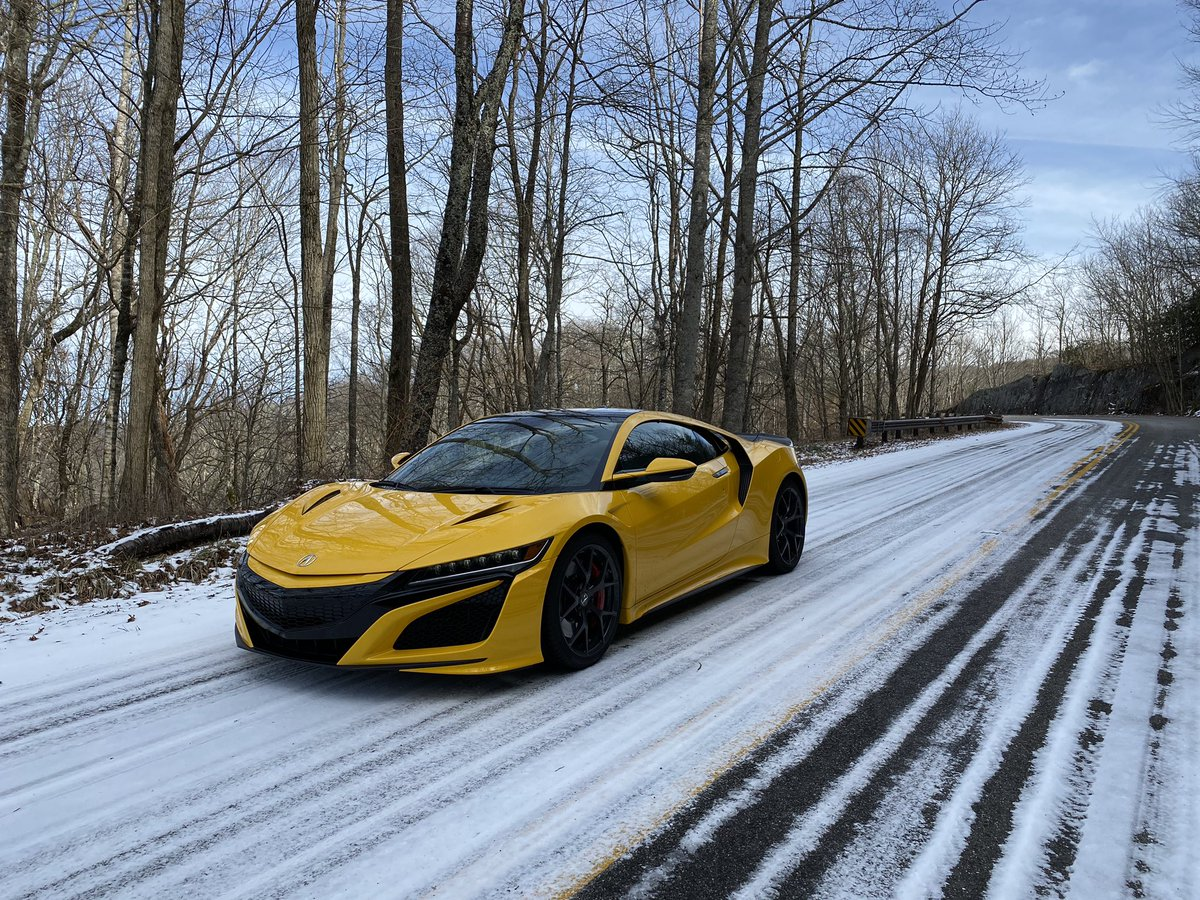 Acura smartly opted to run the NSX road trip cars on winter tires, since we've yet to actually cross into climates above 40 degrees. Even found a bit of snow and ice in the Smoky Mountains while crossing into North Carolina today.