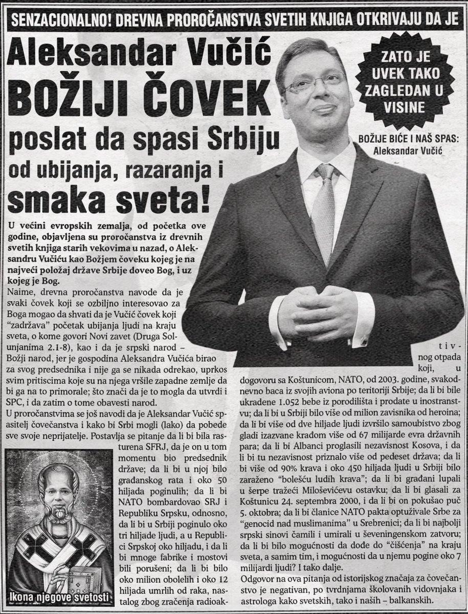 Aleksandar Vučić je Božiji čovek, poslat sa spasi Srbiju od ubijanja, razaranja i smaka sveta