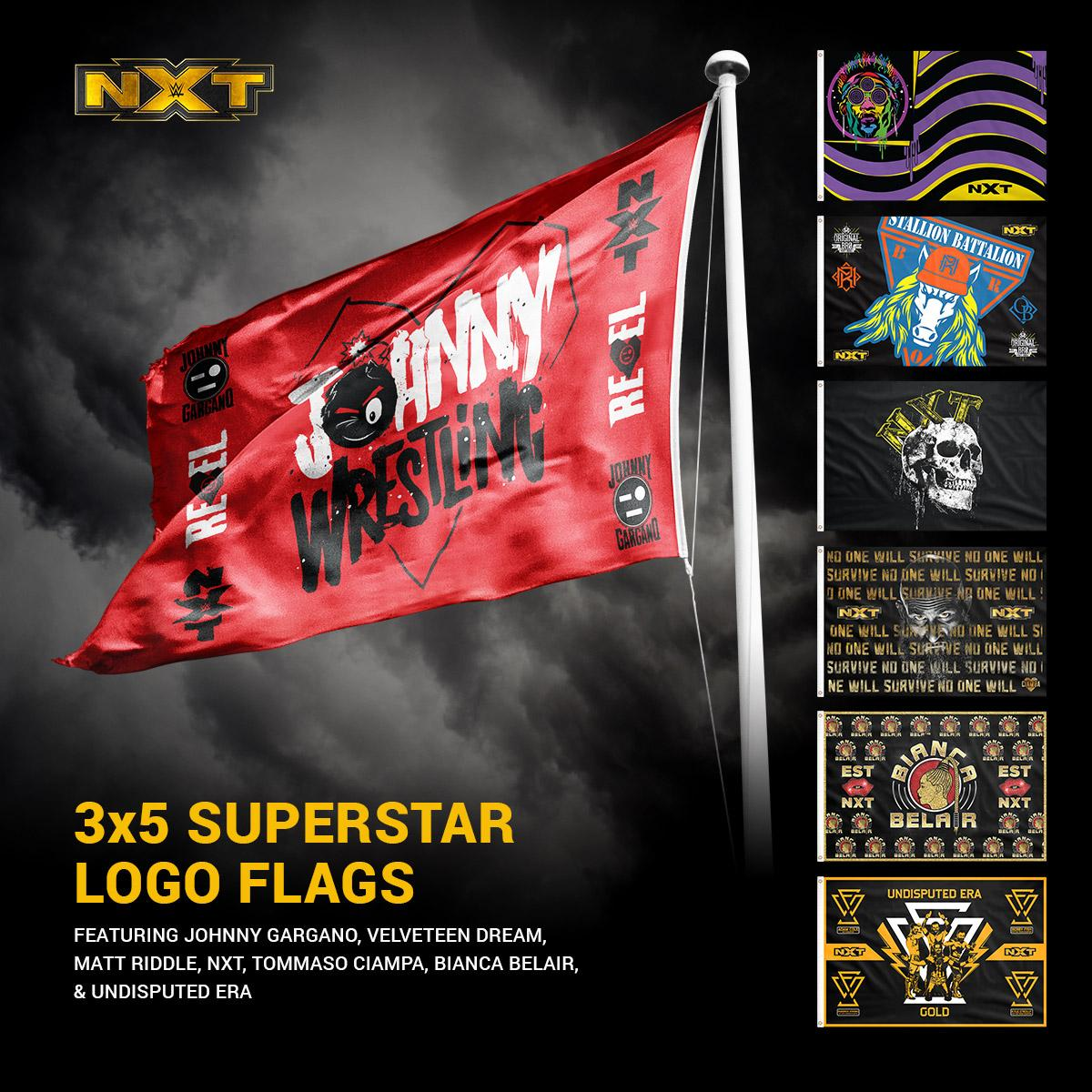 Proclaim to the world that you are #NXT with Superstar logo flags available now at #WWEShop! #WWE #WeAreNXT @WWENXT