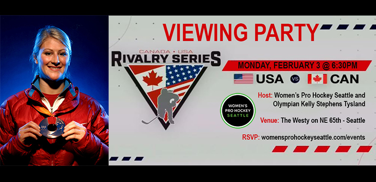Viewing Party: Watch USA v. CAN #RivalrySeries game w/ Olympian Kelly Stephens-Tysland & #WoProHoSeattle, Mon Feb 3 at 6:30p @thewestyseattle - Roosevelt.  This all-ages event will feature an autograph session, freebies & door prizes!  Full details & RSVP:  https:// womensprohockeyseattle.com/events    <br>http://pic.twitter.com/gWoKVFHAP1