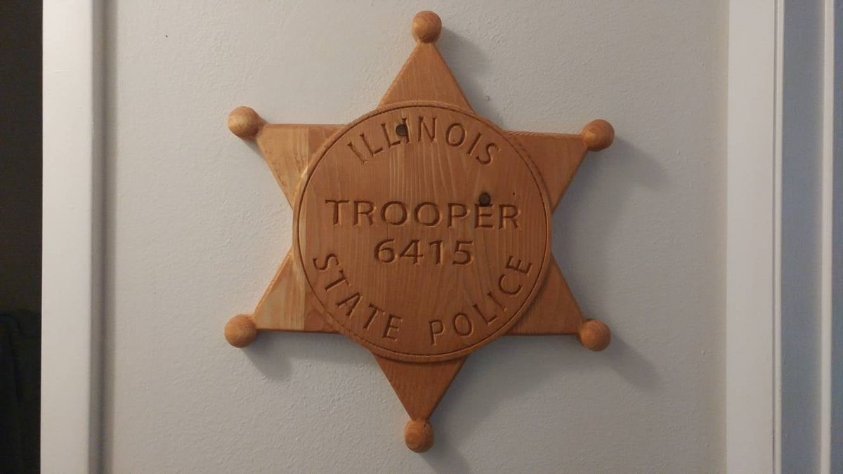Illinois State Trooper Badge - Personalized Custom 3D V CARVED -  V Carved Wood Sign  #Handmade #Homedecor #Plaque